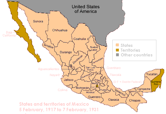 Map of Mexico, 1917-1931, its states and territories